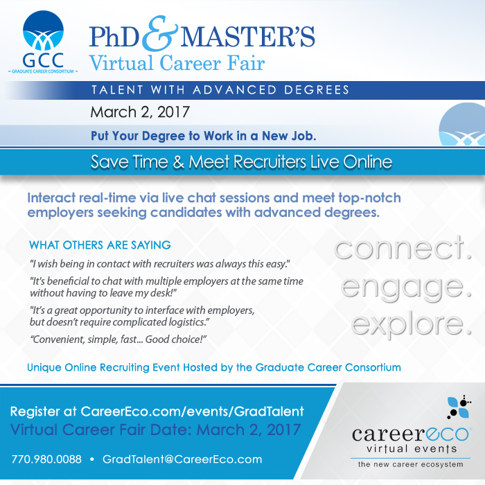 PhD & Master's Virtual Career Fair - March 2, 2017:  Full-time, Postdoctoral, & Internship Opportunities