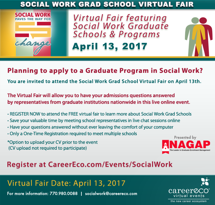 Please Share - Social Work Grad School Virtual Fair - April 13th - Meet with Top Social Work Programs in a live online event!