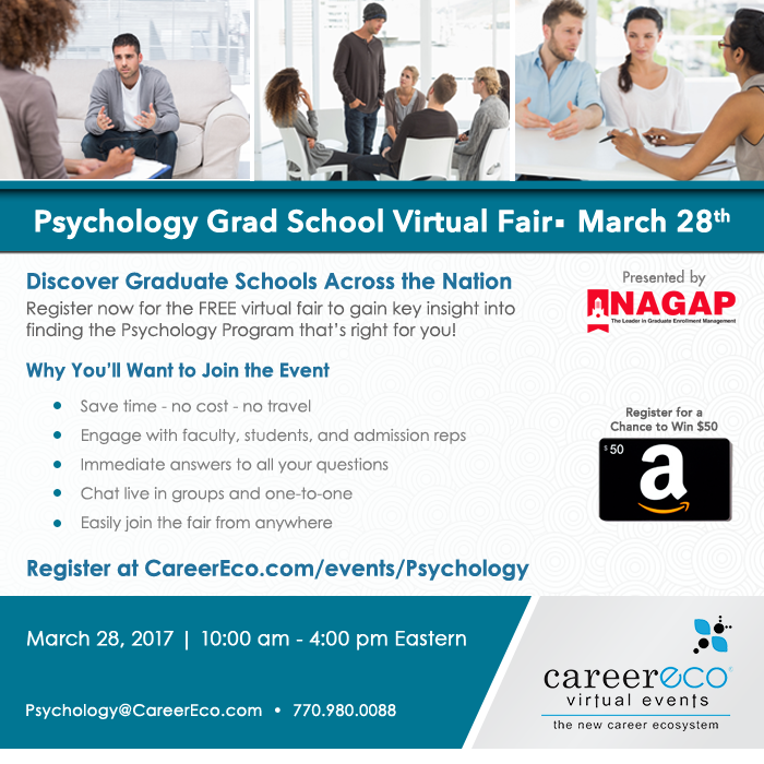 Psychology Grad School Virtual Fair March 28th - Interact Live with 40 Graduate schools in a free event!