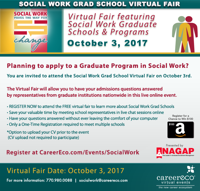 Please Share - Social Work Grad School Virtual Fair - October 3rd - Meet with Top Social Work Programs in a live online event!