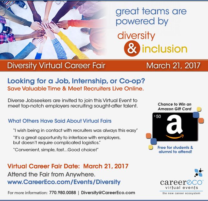 Diversity Virtual Career Fair - March 21st: Full-time, Intern, & Co-op Jobs